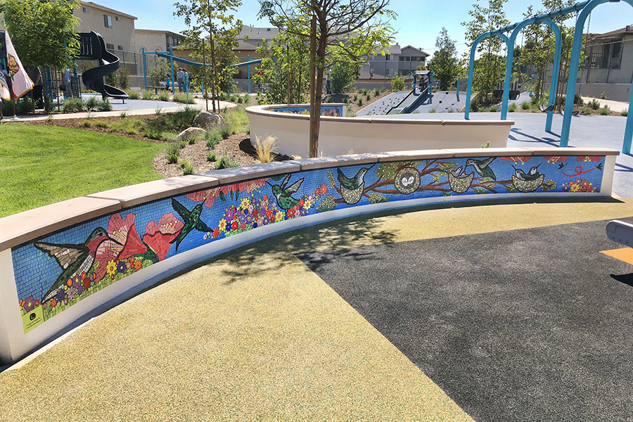 Hummingbird Mosaic Bench